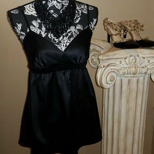 Express black satin blouse